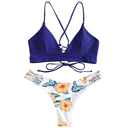 ZAFUL - Bikini trenzado acolchado para mujer, con cordones, diseño floral azul oscuro S