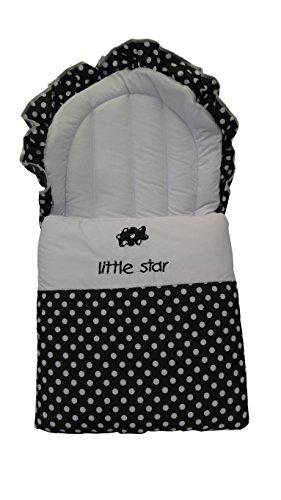 Baby Nest/Fußsack–Cosy Toes Polka Punkte (schwarz und weiß)