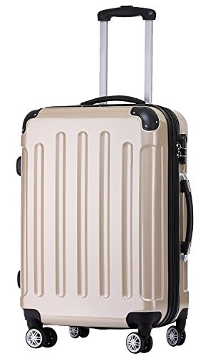 BEIBYE Zwillingsrollen 2048 Hartschale Trolley Koffer Reisekoffer Taschen Gepäck in M-L-XL-Set (Champagner, M)
