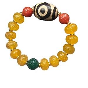 ZHIBO Armband mit natürlichem gelben Achat Ruyi Muster Drei-Augen Dzi Perlen Armreif Armband