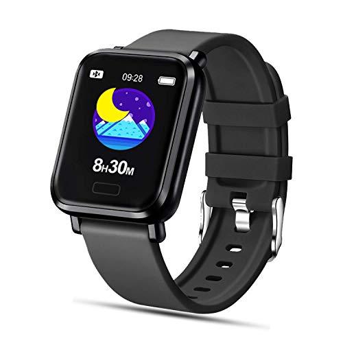 Tipmant Smartwatch Orologio Fitness Uomo Donna Fitness Tracker Contapassi Calorie Cardiofrequenzimetro da polso Impermeabile IP68 Smart Watch con Cronometro Notifiche Messaggi per ios Android (Nero)
