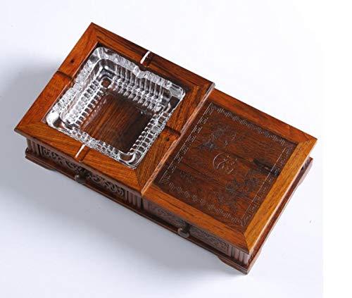 LILICEN Cenicero, Cenicero de Caoba de Madera Creativo Crafts Regalos Inicio cenicero de Cigarrillo (26 * 14 * 6 cm) Marrón
