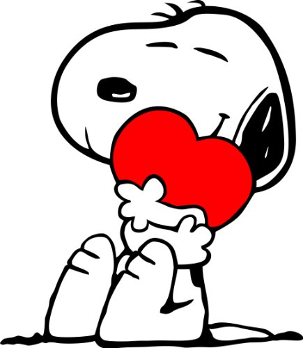 Apollo's Products Snoopy Hugging Heart Pillow/No Text - Wall Vinyl Decals (14 X 16 Inches)