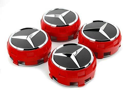 4 Stück AMG Radnabenabdeckung Für Mercedes-Benz Rot Silber Stern Nabendeckel 75mm Nabenkappen Radkappen A0004000900 3594 im Zentralverschlussdesign sportlichen Akzent