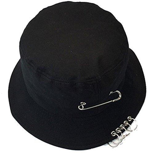 Belsen Damen Stift Reifen Sonnenhut Bucket Hat Fischerhüte Strand Hut Mütze (schwarz)