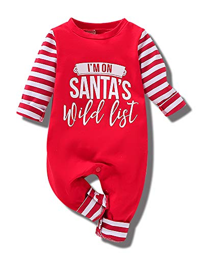 Baby Boy Girl Clothes Newborn Christmas Romper Outfits Striped Long Sleeve Jumpsuit Infant Onesie Bodysuit Fall Red 0-3 Months