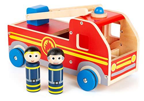 small foot 11456 Großes Feuerwehrauto aus Holz, mit Spielfiguren und bewegbarer Rettungsleiter, ab 3 Jahren