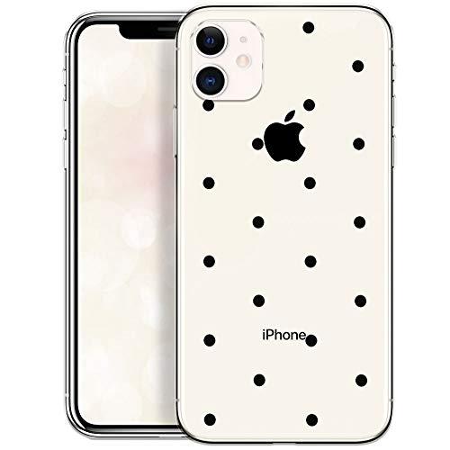 OOH!COLOR Schutzhülle kompatibel mit iPhone 11 Hülle Silikon Hülle Transparent dünn Handyhülle mit Motiv Schwarze Punkte