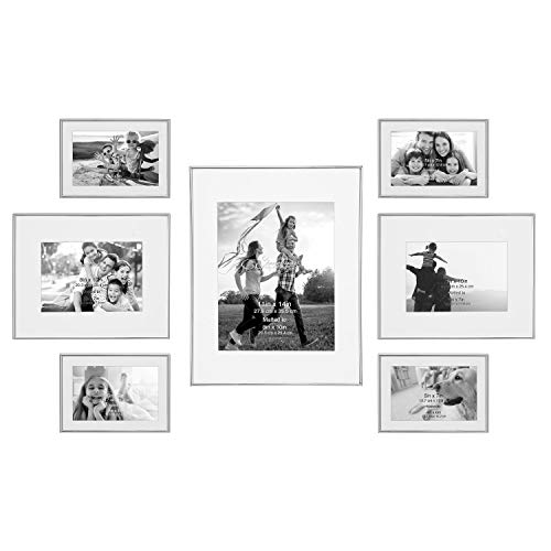 Stonebriar - Juego de marco de fotos decorativo de acero plateado, 7 piezas, para colgar en la pared, moderno juego de pared