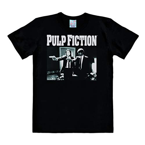 Logoshirt - Pulp Fiction - Vincent Vega & Jules Winnfield - Logo - Camiseta Hombre - Negro - Diseño Original con Licencia, Talla XL