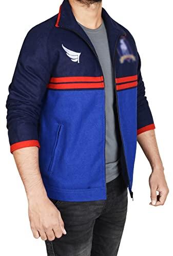 KYTBazar Jason Sudeikis Blue Track Jacket-Sports Lightweight Wool Jason Jacket