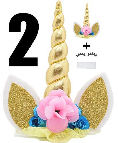 Koshi Unicorn Cake Party Decoration Value Set para Baby Shower y Birthday Party (Paquete de 2) Promedio Amarillo
