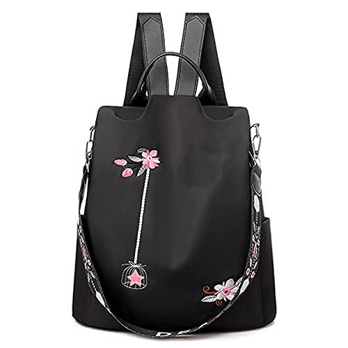 Mochila bordada 3D para mujer, impermeable, Oxford, estilo casual, temperamento, antirrobo, bolsa de viaje, Negro (Negro) - BSGA-8746