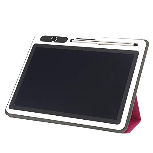 Homeriy Bloc de Notas Electrónico Tableta LCD Almohadilla de Dibujo Suministros Comerciales Herramienta de Pintura Manual de 10 Pulgadas (Rosa Roja (con Funda de Piel Sintética))