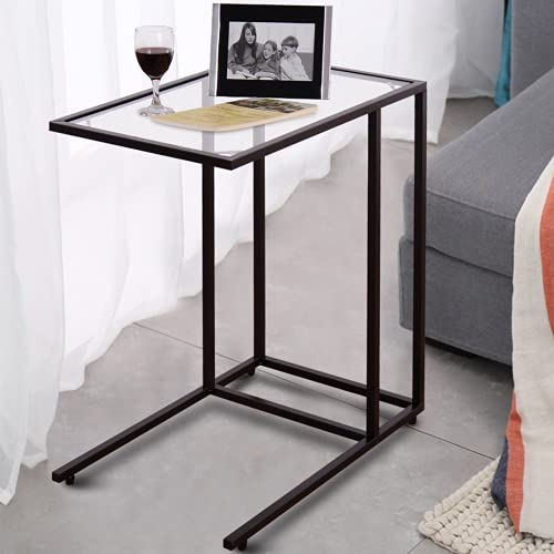CASART C Shaped End Table, Tempered Glass Top Sofa Side Table, Overbed Snack Coffee Table Laptop Desk for Living Room, Bedroom and Office