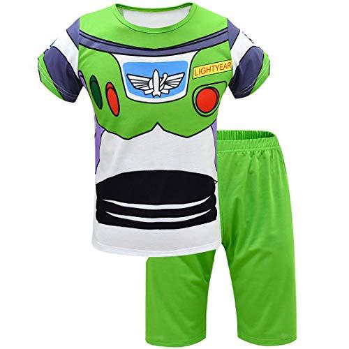 Thombase Jungen Woody and Buzz Lightyear Halloween Cosplay Pyjama PJS lustige Kostüme Gr. 134, Buzz-Shorts