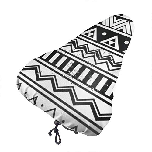 3d-design Bike Seat Cover The Best and Abstract Geometric Aztec Style Bicycle Saddle Exercise Water Resistant Replacement for Men and Women Outdoor Cycling Travel with Elastic