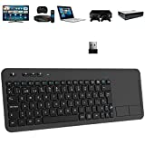 TedGem Teclado Inalámbrico USB, 2,4GHz Teclados Inalambricos para Smart TV Teclados Inalambricos Ordenador Teclado Touchpad con Receptor Nano USB para PC/Laptops/Tablet/Smart TV