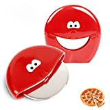 Pizza Cutter Wheel - 2 Pack Plastic Pizza Cutter,Super Sharp 3 Inch Stainless Steel Blade with Blade Guard Cover,Dishwasher Safe (Red)