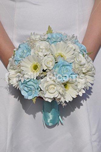 Color azul y blanco fresco Supergets rosas gipsófila y suite margarita ramo de la boda