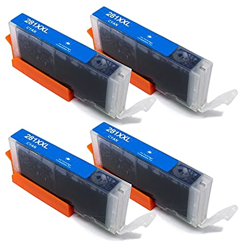 SXCD PGI-280 CLI-281XXL - Cartucho de tinta compatible con Canon PIXMA TS702 TR7520 TR8520 TS6120 TS6220 TS8120 TS8220 TS9120 TS9521C (4 unidades)