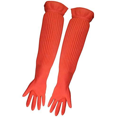 ASOCEA Aquarium-Pflegehandschuhe, wasserdicht, Latex, wiederverwendbar, für Aquarien, 1 Paar, Orange