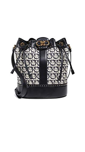 Salvatore Ferragamo Women's Gancino Quilting Jacquard Bucket Bag, Beige/Nero, Black, Print, One Size