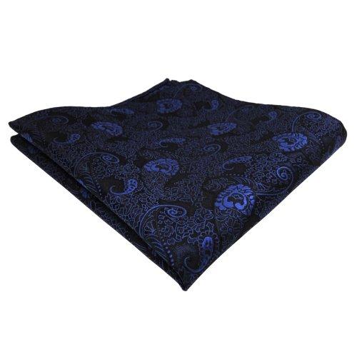 TigerTie Einstecktuch blau dunkelblau schwarz Paisley - Tuch Polyester Pochette Kavalierstuch Stecktuch