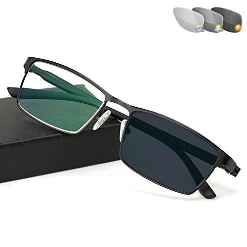 D&XQX Photochromic Lesebrille Männer Anti blaues Licht Anti-Fatigue Glas-Frauen Strahlenschutz UV400 Lesebrille Metallrahmen Aspherical Objektiv Sonnenbrillen,Schwarz,+3.00