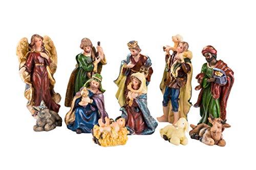 11 Krippenfiguren für Weihnachtskrippe - Handbemalt - Krippenzubehör - Bis 9 cm hoch - Jesus Figur