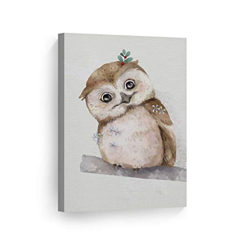 Smile Art Design Cute Animals Watercolor Paint Owl Wall Decor Canvas Print Kids Room Decor Wall Art Baby Room Decor Nursery Decor Ready to Hang Made in The USA- 12x8