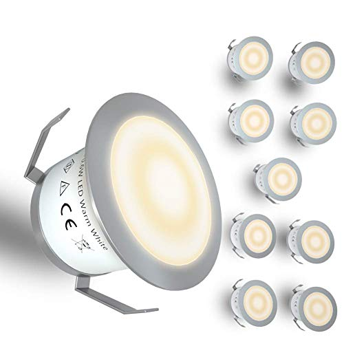 Recessed Deck Lights Kit, 10 Pack 12V In Ground Outdoor LED Deck Lighting Low Voltage Warm White Waterproof IP67 for Stair, Garden, Yard Steps, Patio, Kitchen, Landscape Decor