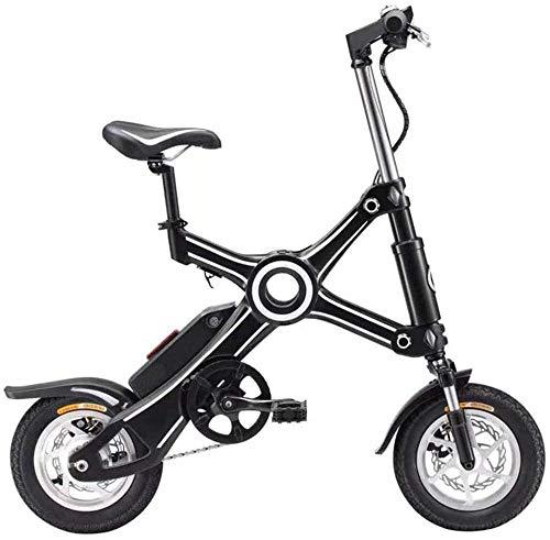 XBSLJ Mountainbikes, Elektrofahrräder Klappbare Ebike Aluminiumlegierung 10-Zoll mit Kindersitz 35KM Kettenloses elektrisches Fahrrad Licht und schnell klappbares Ebike Adult-Schwarz