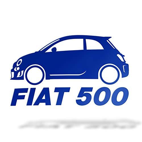 Erreinge Autocollant compatible pour Fiat 500 Tuning Jdm latéral Bleu Schriftzug En PVC Pour fenêtre de voiture lunette arrière