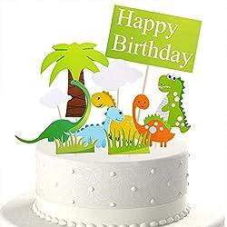 4. Eiveny 11 Piece Dinosaur Cake Topper Set