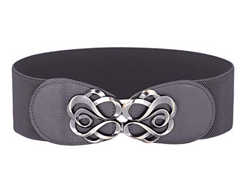 Women Stretchy Vintage Dress Belt Elastic Waist Cinch Belt CL413, Gray, Large