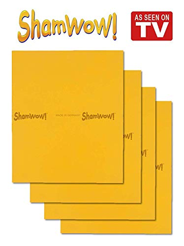 ShamWow The Original Super Absorbent Multi-Purpose Cleaning Shammy (Chamois) Tuch-Tuch, maschinenwaschbar, wird nicht kratzen, 4 Packung Orange