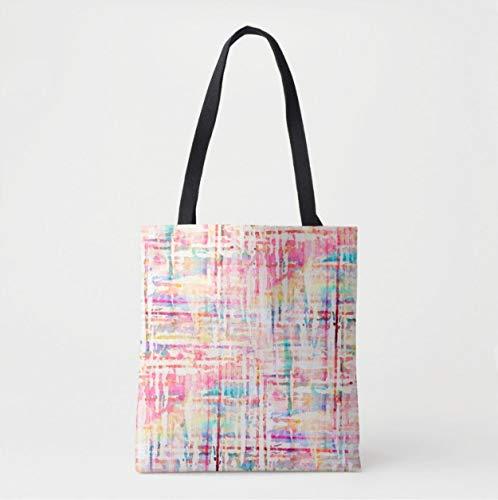 Sac à bandoulière en tweed aquarelle, multicolore, rose, turquoise, violet, orange, lignes géométriques peintes