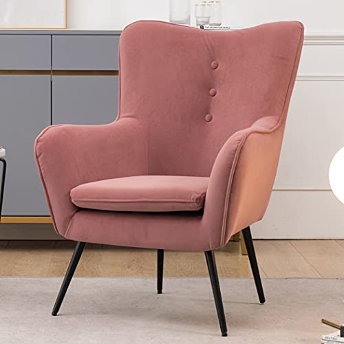 JaHECOME Pink Chair Living Room Armchair Modern Single Sofa Tub Chair Upholstered Chair with Metal leg with foot pads for Living Room (Pink)