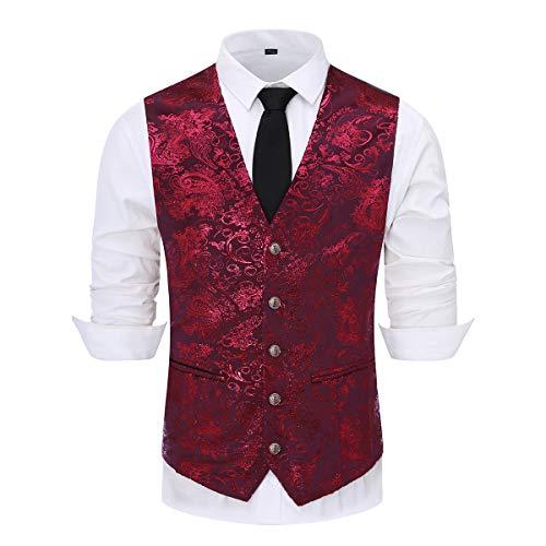 Weste Anzugwesten Herren Westen Veste Gilet Jacquard Anzugweste für Hochzeit und Party (XXX-Large, Rot)