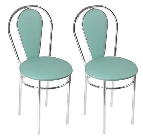 BSD Sedia da Pranzo Moderna in Ecopelle, Sedia da Sala da Pranzo, Set di 2 Sedie da Pranzo con Gambe in Metallo - Tulipan Plus - Colore: Acquamarina - Set di 2