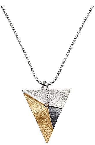 Perlkönig Kette Halskette | Damen Frauen | Silber Gold Schwarz Farben | Glänzend | Tricolor | Nickelabgabefrei