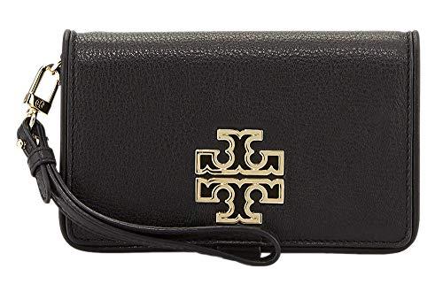 Tory Burch 60417 Britten Smartphone Wallet Snap Wristlet Phone Case Wallet Schwarz gerollt Gold