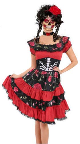 Disfraz de esqueleto de calavera de azúcar para mujer, Día de los Muertos, Halloween, fiesta de disfraces