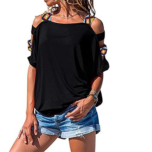 Camiseta con Hombros Descubiertos Y Manga Corta Hueca De Color SóLido De Verano para Mujer