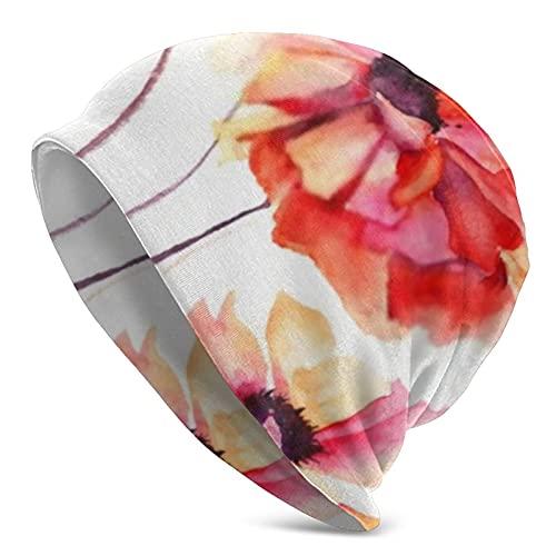 ZVEZVI Gorro de punto de flores de amapola con pintura de acuarela, cálido, elástico, suave, para hombres y mujeres, comodidad durante todo el año