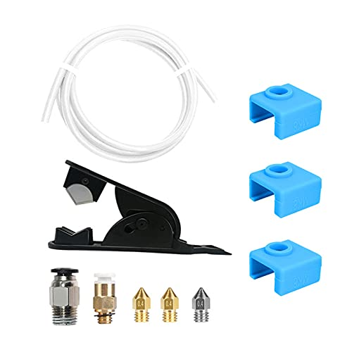 lefeindgdi Kit de impresora 3D, funda de silicona para bloque de calentador de impresora 3D con tubo de PTFE cortador de tubo accesorios neumáticos y boquillas adicionales fácil instalación