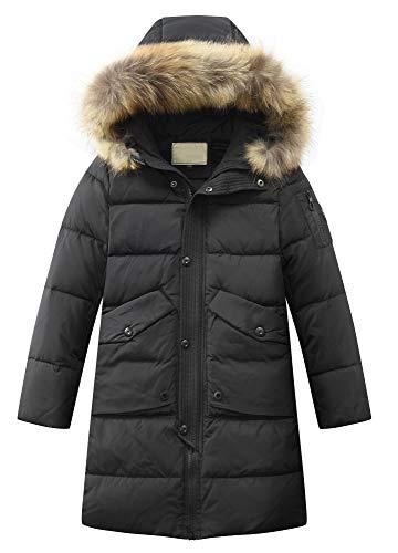 Mallimoda Jungen Winterjacke mit Kapuze Kinder Daunenjacken Lange Mantel Parka Outerwear Blau 13-14 Jahre/Körpergröße 160-170