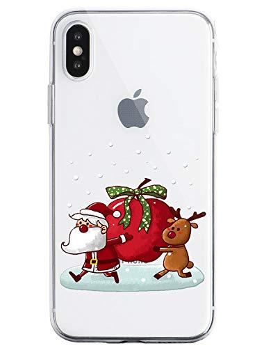 Oihxse Case Compatible con OnePlus 7 Funda Transparente Silicona Suave Carcasa Protectora Navidad Santa Deer Diseño de patrón Creativo Ultra Slim Flexible Cover