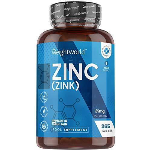 Zinc Pur 25 mg - 365 Comprimés de Gluconate de Zinc Vegan Haute Absorption - Complément Alimentaire Zink - Pour le Système Immunitaire, Pousse Cheveux, Peau, Ongles, Dosage France 12,5 mg